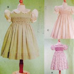 Vogue Girls Smocked Dress and Transfer Pattern 7435 Embroidery 5 6 6X Uncut OOP