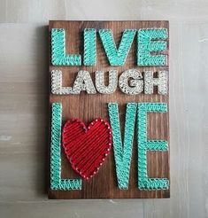 Live Laugh Love Sign constructed out of nails and thread. The size of this listing is 30 cm x 25 cm x 1.8 cm, and is ready to hang. You can customize the following (just mention what you want in the notes when checking out): 1- Image: country, name, letter, word, figure, etc. 2- Quote/