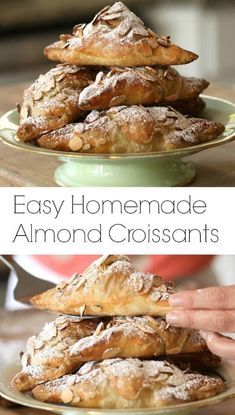 this little cheat for easy homemade almond croissants using store-bought puff pastry.Try this little cheat for easy homemade almond croissants using store-bought puff pastry. Pavlova, Just Desserts, Delicious Desserts, Yummy Food, French Desserts, Brunch Recipes, Dessert Recipes, Homemade Croissants, Homemade Pastries