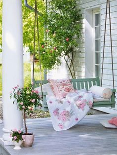 We just moved an old swing from our rental property and pickled it white over lime green. It is now on our enclosed front porch - the kids loved it as extra seating for Easter. More - Front Porches Today Outdoor Rooms, Outdoor Living, Outdoor Decor, Outdoor Ideas, Gazebos, Decks And Porches, Front Porches, Front Porch Swings, Side Porch
