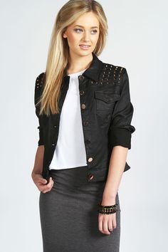 Mila Studded Waxed Denim Jacket at boohoo.com