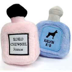 Perfume Dog Toys Koko Chewnel Kalvin K-9 - Two of the world's most notable fragrances are now the most desired dog toys. Plush exterior with a squeaky that drives dogs crazy. Every Pampered Pup should have one.  $14.99