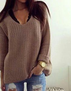 Chunky knit + lace.