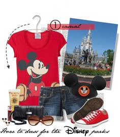 """How to dress for the Disney parks set 1: casual"" by daydreaming-actress ❤ liked on Polyvore"