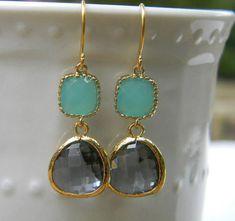 Charcoal Gray Earrings Aqua Earrings Trimmed in by Greenperidot, $26.50