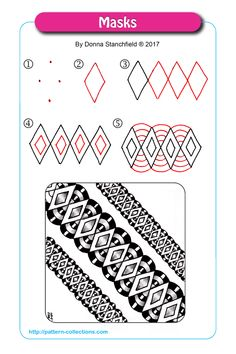 Manga Drawing Patterns Masks by Donna Stanchfield - Zentangle Drawings, Doodles Zentangles, Doodle Drawings, Easy Drawings, Doodle Art Designs, Doodle Patterns, Zentangle Patterns, Tangle Doodle, Zen Doodle