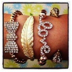 Love, bow, feather bracelet stack.
