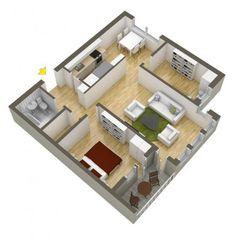 Plano de departamento pequeño forma cuadrada