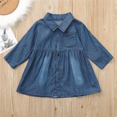 Long Sleeve Button Down Denim Dress from kidspetite.com! Adorable & affordable baby, toddler & kids clothing. Shop from one of the best providers of children apparel at Kids Petite. FREE Worldwide Shipping to over 230+ countries ✈️ www.kidspetite.com #clothing #girl #dresses #toddler Toddler Girl Dresses, Girls Dresses, Button Down Denim Dress, Hot Dads, Hooded Jacket, Kids Outfits, Rompers, Shirt Dress, Pure Products