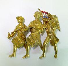 Vtg Figural Spirit of '76 Patriotic 4th of July American Flag Pin Brooch Coro  #Coroattributed