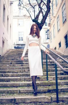 White midi skirt + cropped white top by Suvelle Cuisine