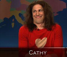 Andy Samberg as Cathy on SNL skit.