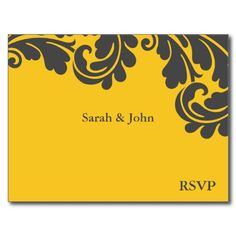 Damask Yellow and Grey Card