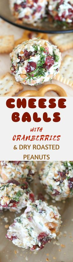 GOAT CHEESE APPETIZER - These colorful goat cheese appetizer balls are the perfect hors d'oeuvre at any time of year! Sautéed shallots, feta cheese, chopped cranberries and dry roasted peanuts flavor this simple spread. #appetizer #cheese #party #recipes