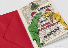 T-rex Christmas Card-funny Christmas card-holiday by naturapicta