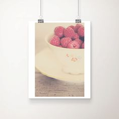 raspberry photograph, food photography, kitchen wall art, fruit, raspberry, pink, shabby chic decor, china, cream, fuchsia