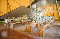 Tipi internal of two giant hat tipis- Sami Tipi Wedding in Buckinghamshire - Captured by DK Wedding Photography