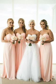 For her and for him 2015-peach bridesmaid dresses