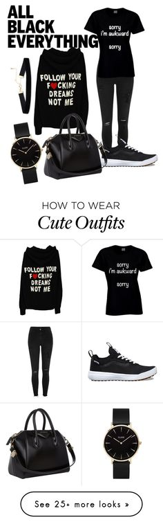 """""""Untitled #151"""" by abbiesanders on Polyvore featuring River Island, Vans, Givenchy, CLUSE and allblackoutfit"""