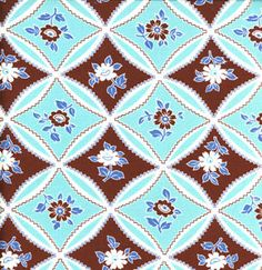 Jennifer Paganelli JP10 Bell Bottoms Mary Trellis Turquoise Cotton Fabric 1 Yard