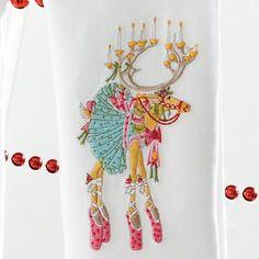Patience Brewster Dancer Dashaway Reindeer Tea Towel