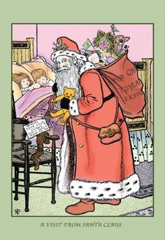 A Visit from Santa Claus 12x18 Giclee on canvas