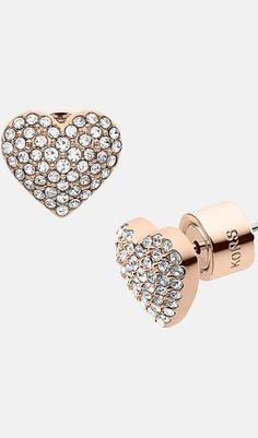 Pave heart earrings! Cute! Heart Earrings, Stud Earrings, Diamond Earrings, Beautiful Earrings, Michael Kors Jet Set, Gifts For Her, Studs, Sparkle, Nordstrom