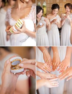 Monogrammed rings in tiny boxes as bridesmaids gifts