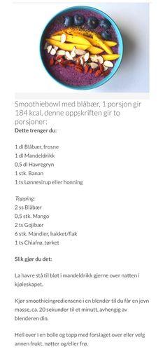Smoothiebowl med blåbær Smoothies, Mango, Smoothie, Manga
