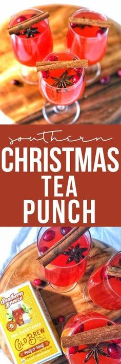 Christmas tea punch is an easy holiday drink made even easier using cold brew tea and plenty of holiday cheer with cranberries and sparkling cider. Southern Christmas, Christmas Brunch, Christmas Drinks, Holiday Cocktails, Christmas Morning, Christmas Decor, Easy Drink Recipes, Alcohol Recipes, Summer Drinks