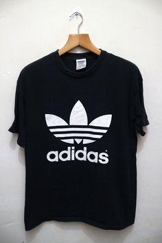 Vintage ADIDAS Trefoil Big Logo Black Hip Hop Swag Streetwear Tee T Shirt by VintageClothingMall on Etsy