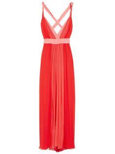 Halston Heritage Two Tone Silk Chiffon Gown