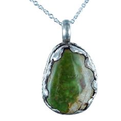 """PERSIAN TURQUOISE PENDANT NECKLACE OLIVE GREEN 16"""" from New World Gems"""