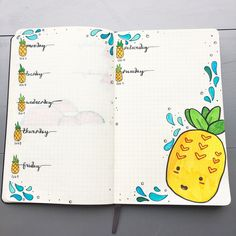 Bullet journal weekly layout, pineapple drawings, water drawing. | @jellyfish.breaths.   I really think this would be a good theme for one of  the summer months