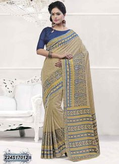 Charming Beige Coloured Poly Silk Printed Saree
