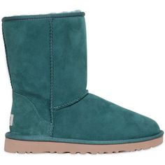 Ugg Australia Women Classic Short Shearling Boots ($170) ❤ liked on Polyvore featuring shoes, boots, ankle booties, uggs, footwear, green, shearling booties, ugg australia boots, short booties and shearling lined booties
