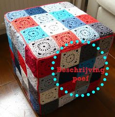 covered IKEA ottoman granny pattern (in Dutch, but with a chart) – Granny Square Pouf En Crochet, Crochet Motifs, Crochet Cushions, Manta Crochet, Crochet Blocks, Crochet Squares, Love Crochet, Crochet Granny, Beautiful Crochet