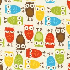 These Bold Multicolored Owls will keep baby cozy all night long! This vintage-inspired fabric is great for creating the perfect custom nursery bedding.