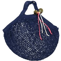 """Let your little one walk in style with our COTTON MESH SACK SHORT. This cutesy bag will sure be the perfect accessory for the summer's favorite outfit. Designed with brass bells and mesh ribbons for the accent.  100% COTTON COLOR: NAVY SiZE: 12""""W x 10""""H x 8"""" STRAP (30cmx25cmx20cm) MADE iN U.S.A."""