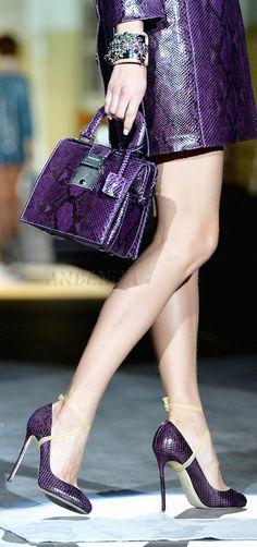 Dsquared2 ~ Deep Purple Snake Handbag + Pumps 2013