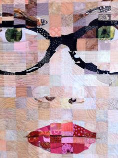 Incredible self-portrait quilt by Sandra Bruce made of 1,600 squares