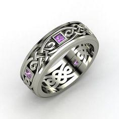 Men's Platinum Ring with Amethyst - Alhambra Knot Band | Gemvara