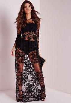 Floral Mesh Maxi Dress Black - Dresses - Maxi Dresses - Missguided