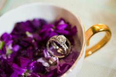 Wedding rings in antique teacup.