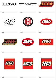 This is a really interesting representation of how the Lego logo evolved over time. It begins as antique, black and white, evolves to the colors red and orange added, later becoming more curved in the text, and finally becoming a simple red square with the black and white text in the middle. The end result is more clean and simple. Lego logo development