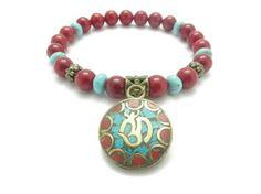Namaste Yoga Jewelry Om Wrist Mala Yoga Bracelet Mala by HVart