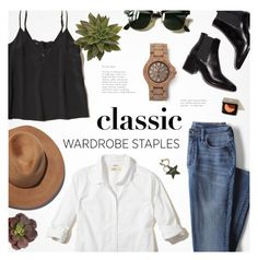 """""""Classic Staples"""" by alexandrazeres ❤ liked on Polyvore featuring Lands' End, Hollister Co., Eugenia Kim, Ray-Ban and WardrobeStaples"""