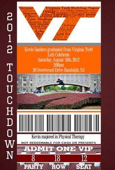 Customized College/High School Football Ticket Graduation Party Invitation. $15.00, via Etsy.