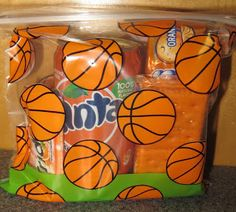 Basketball Bags from Michaels, snacks for the kids after/between games.