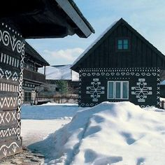 holykrampus: Čičmany, Slovakia The village of Čičmany is located in hilly, forested countryside in Žilina region in western Slovakia. It li. Bratislava, Wooden Cottage, European Countries, Central Europe, Eastern Europe, Homeland, The Locals, Countryside, The Good Place